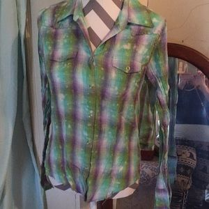 Daytrip snap up tie dye plaid shirt L